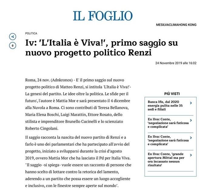 Italia Viva, la recensione su Il Foglio