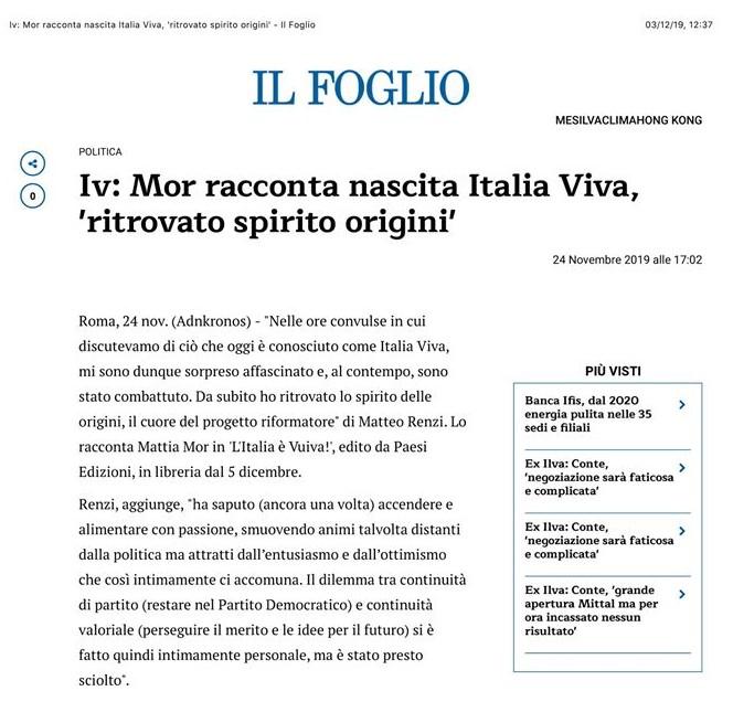 Mattia Mor L'Italia Viva-recensione su Il Foglio